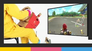 Playing Mario Kart 8 Deluxe with the Nintendo Labo: Vehicle Kit at gamescom 2018