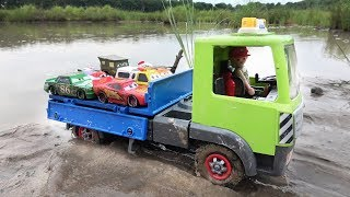 Truck crossing River with Disney Pixar Cars Toys Lightning Mcqueen and Friends