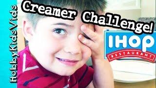 IHOP Pancake Breakfast + Creamer CHALLENGE! HobbyPig, HobbyFrog HobbyKidsVids