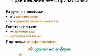 Правописание НЕ- с причастиями (7 класс, видеоурок-презентация)