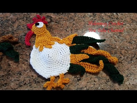 Crochet Rooster Hot Pad Pot Holder And Kitchen Towel Topper Part 1