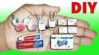 5 DIY BARBIE MINIATURE BATHROOM REALISTIC HACKS AND CRAFTS, Shampoo, Towel, Toothpaste Doll House