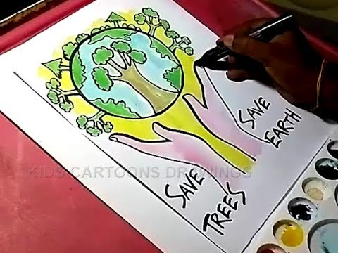How To Draw Save Trees And Save Earth Drawing Youtube