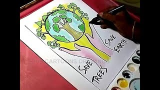 How to Draw Save Trees and Save Earth Drawing for Kids