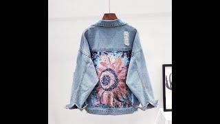 Женская джинсовая куртка с принтом в уличном стиле