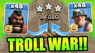 Clash Of Clans - INSANE 48 TROOP TROLL WAR!! - ATTACKING THE TOP 2 PLAYERS LIVE!