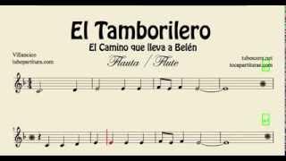 El Tamborilero Partitura de Flauta El Camino que lleva a Belén The Little Drummer Boy Villancico