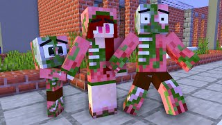 Monster School: Poor Baby Zombie Pigman Family Life (Sad story but happy ending)-Minecraft Animation
