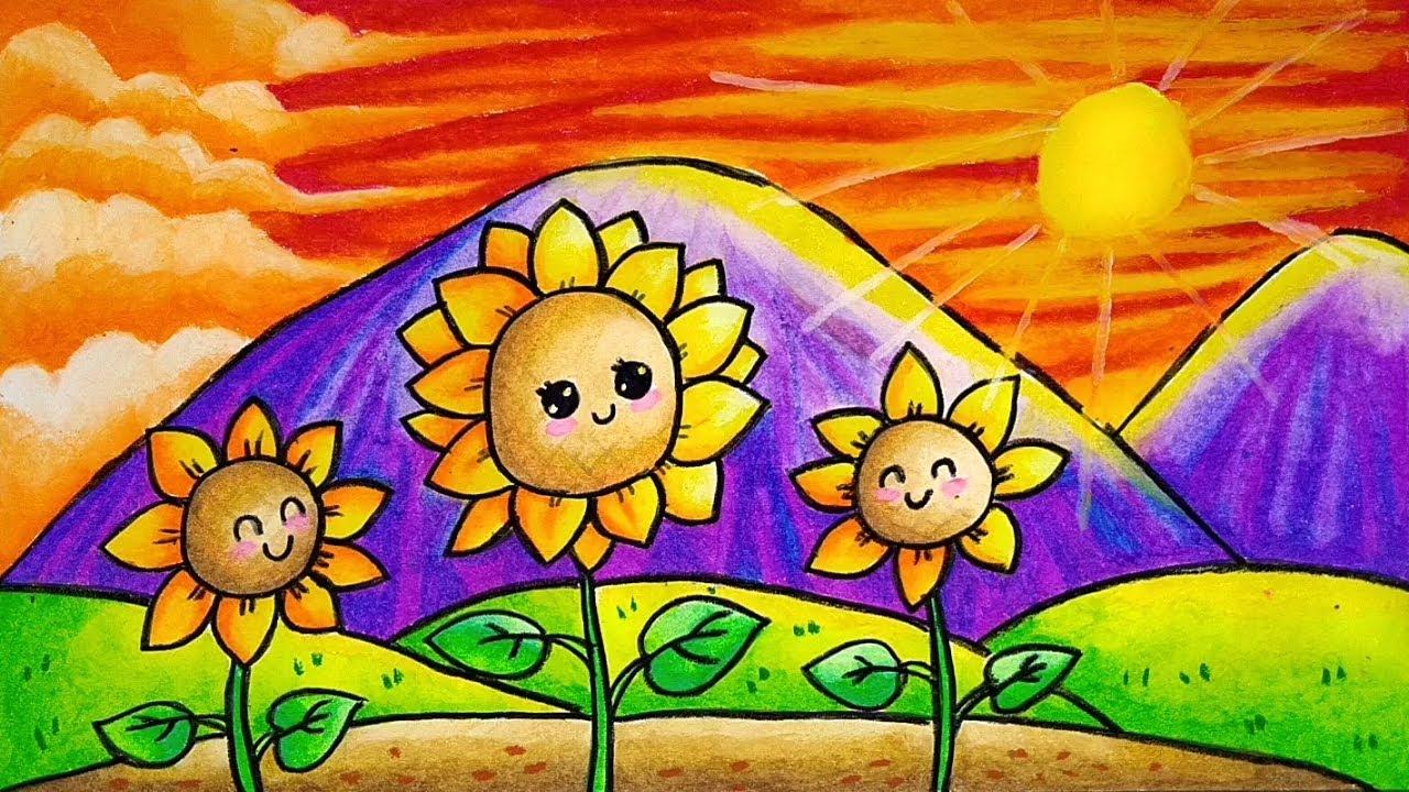 Cara Menggambar dan Mewarnai Tumbuhan / Flora Bunga Matahari yang Bagus dan Mudah buat Pemula ...