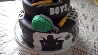 Трехъярусный торт на День Армии. Мастика.