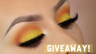 Yellow sunset eyeshadow tutorial l Huda beauty coral obsessions palette