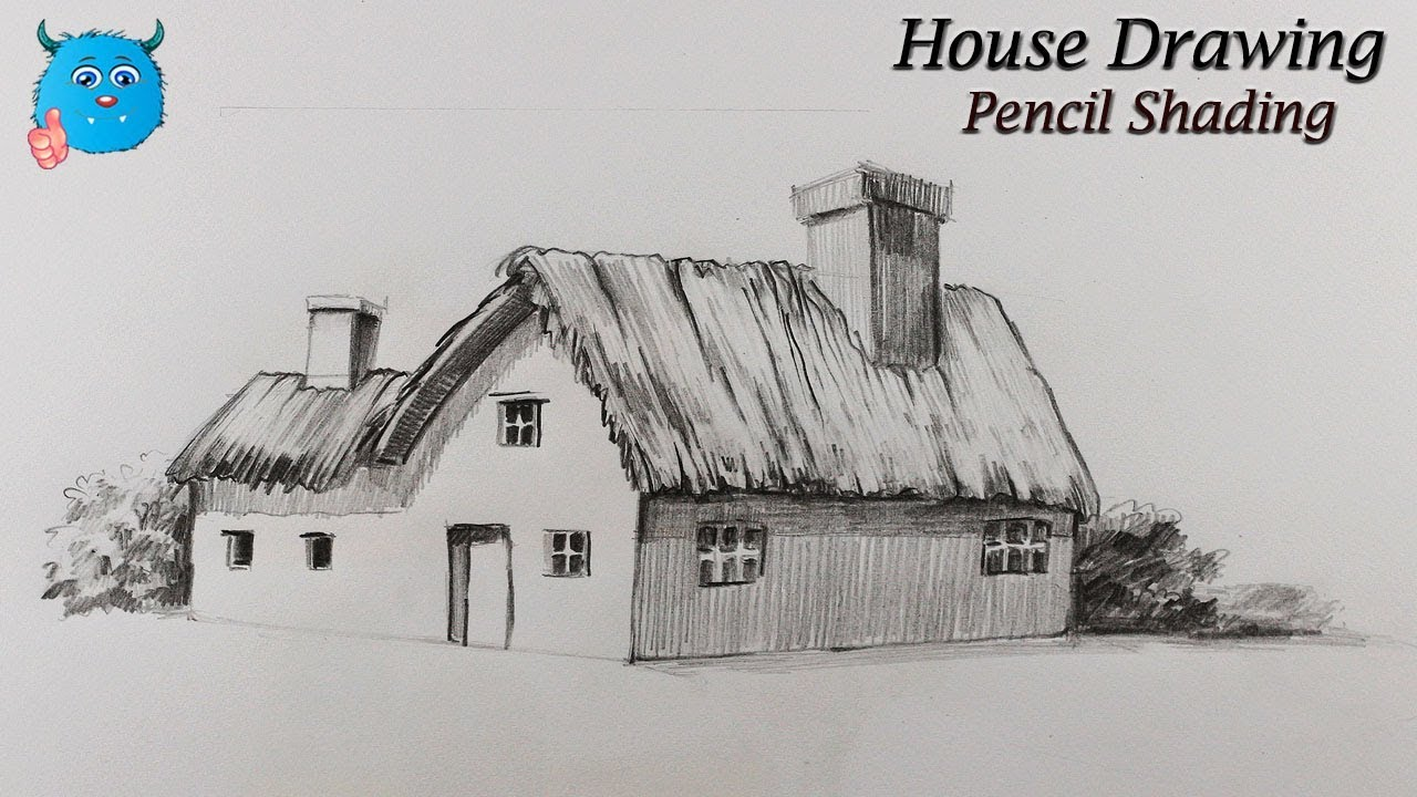 How to draw house for kids and beginners with pencil shading easy