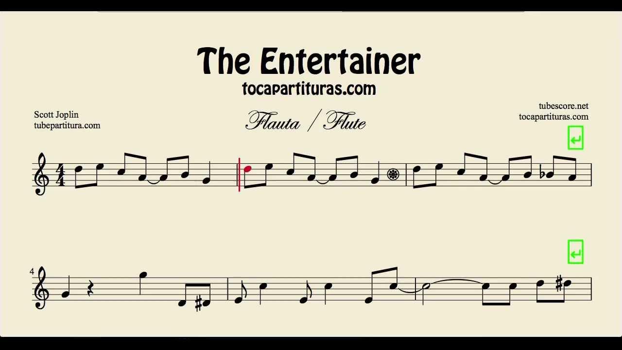 The Entertainer Partitura De Flauta F 225 Cil Youtube