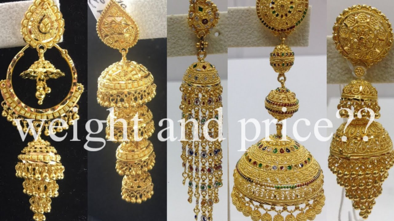Every design element is carved with exquisite craftsmanship. Latest Gold Jhumka Design With Price And Weight 1 Layers To 4 Layers Gold Jhumka Earring Youtube