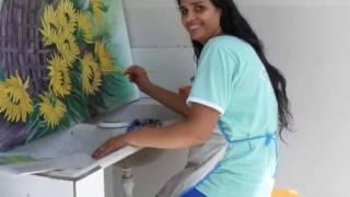 Pintura de flores em óleo sobre tela com * Henia Santos*