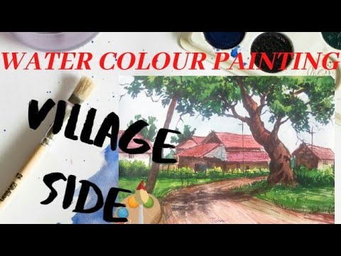 Simple watercolor painting;village side. |#tree #house #road|