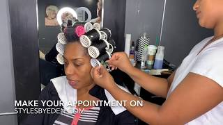 YOUR WISH IS MY COMMAND!! Shiny and beautiful natural hair using hoursglass rollers!