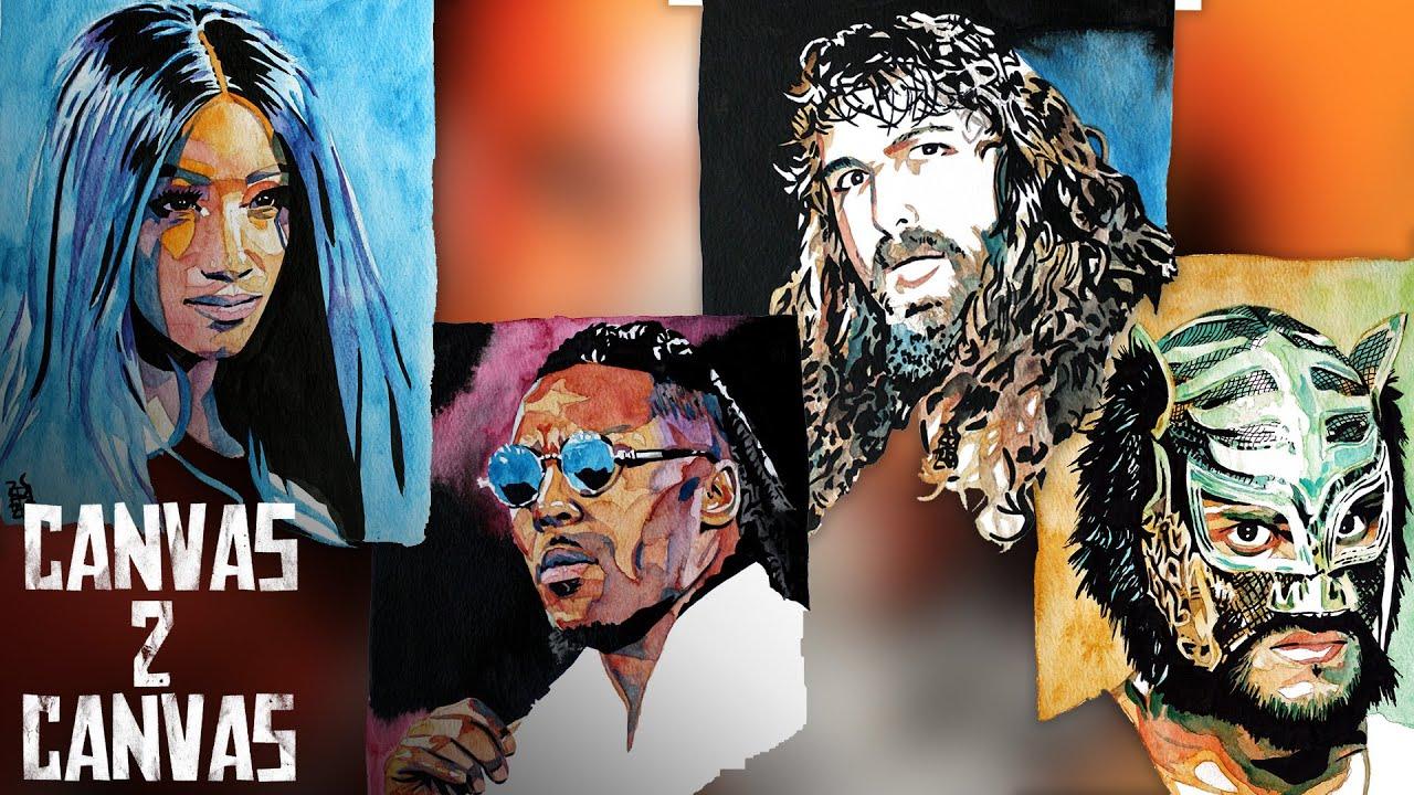 "Select Series - Sasha Banks, Isaiah ""Swerve"" Scott, Cactus Jack & Lince Dorado: WWE Canvas 2 Canvas"