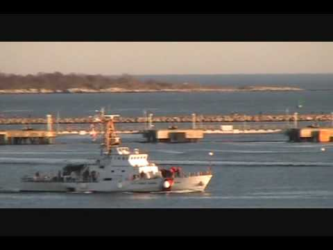 US Coast Guard Ship Jefferson Island entering Portland Harbor