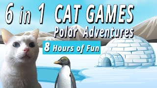 6 in 1 Cat Games  Polar Adventures  8 Hours!!!    Keep Your Cat Entertained