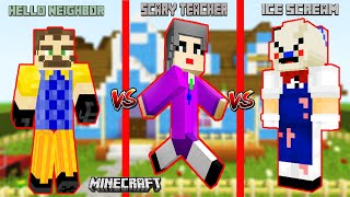 BÜYÜK MİNECRAFT KAPIŞMASI 😲 Minecraft Hello Neighbor vs Ice Scream 4 vs Scary Teacher