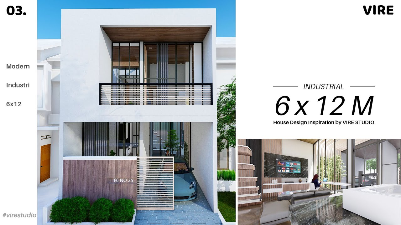 Desain Rumah 6x12 Industrial Modern. 2 LANTAI - YouTube