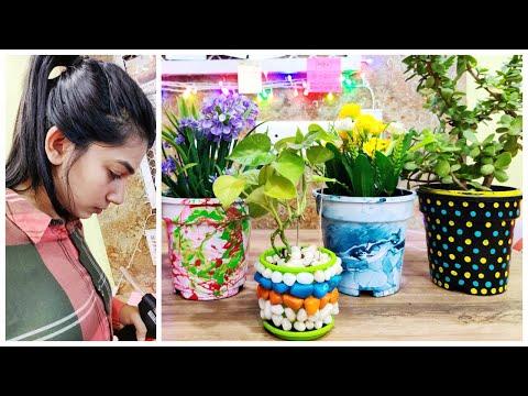 4 Easy Pot Painting Techniques / Planter Decor Ideas    No cost DIYs #Stuticreates #StutiMishra