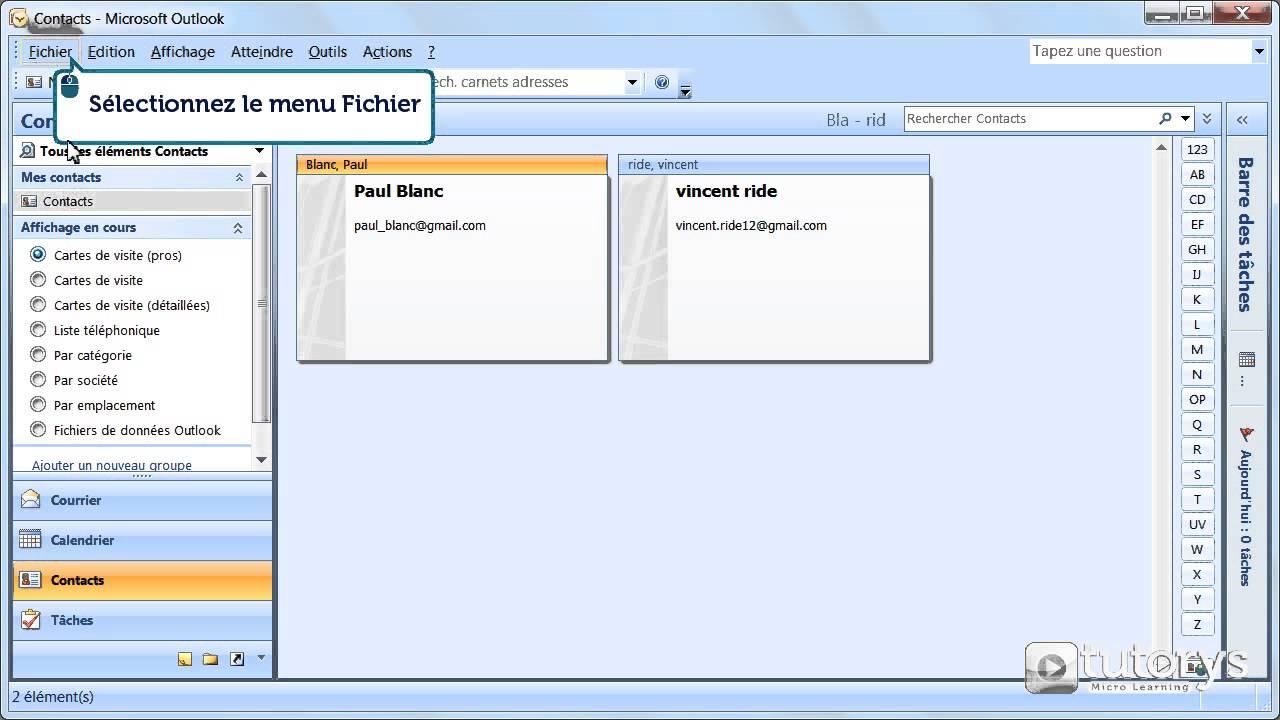 Comment Imprimer Le Carnet Dadresses Avec Outlook 2007