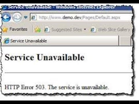 Service Unavailable HTTP Error 503