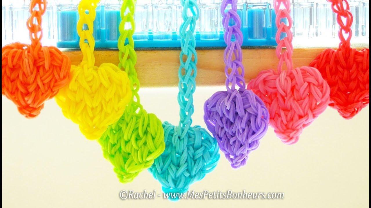 Coeurs rainbow loom en lastiques pour porte cl s ou - Comment faire un porte bracelet ...