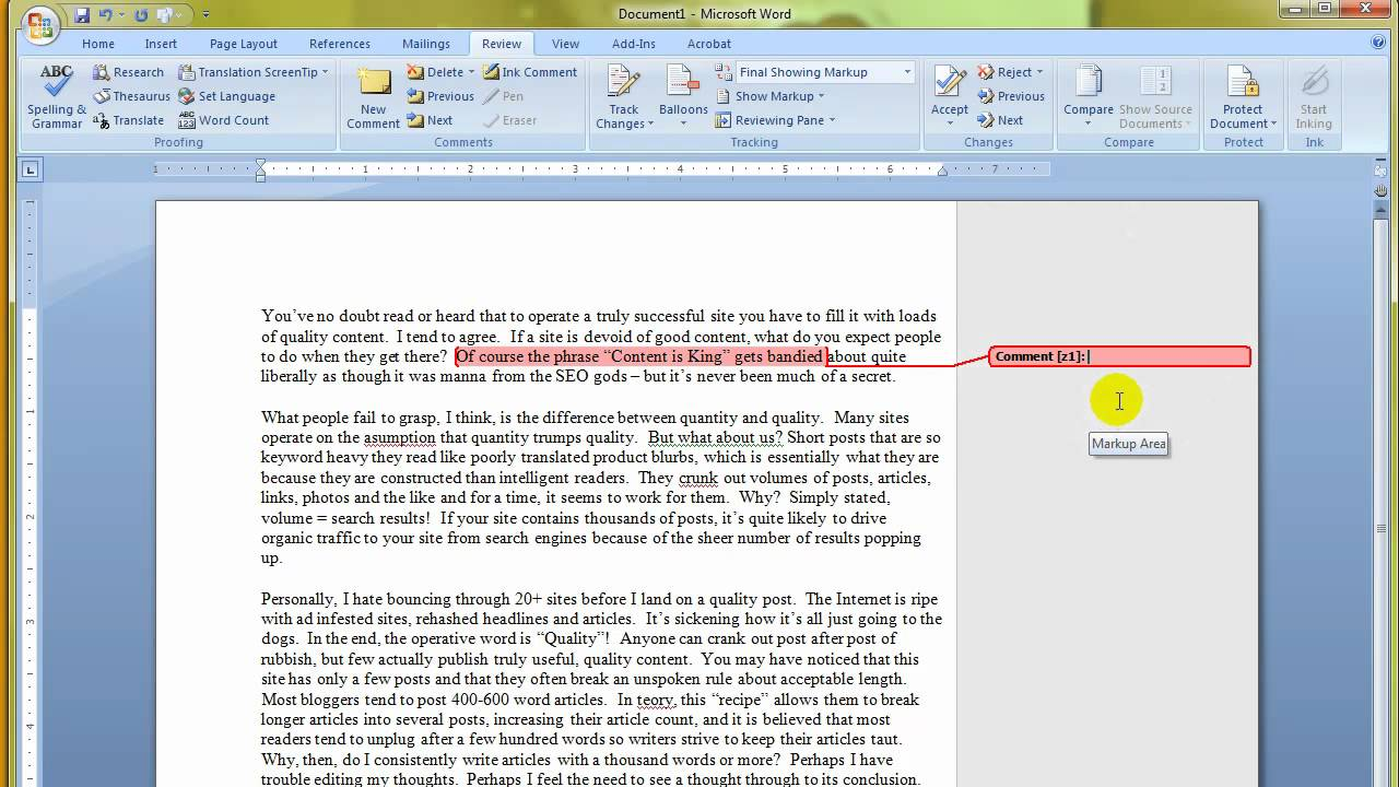 Ms word 2007 how to use or insert comments in a document youtube ms word 2007 how to use or insert comments in a document spiritdancerdesigns Images