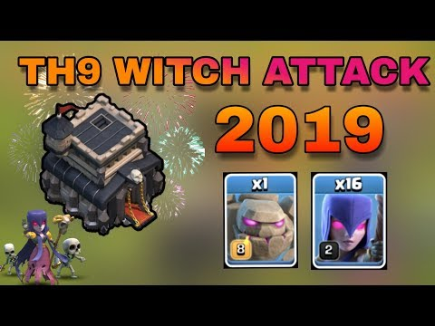 Townhall 9 best attack strategy ( witch + golem ) 2019 | th9 witch attack strategy