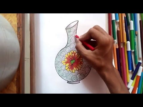 How To Draw A Flower Vase L Flower Pot Drawing L Pot Design Youtube
