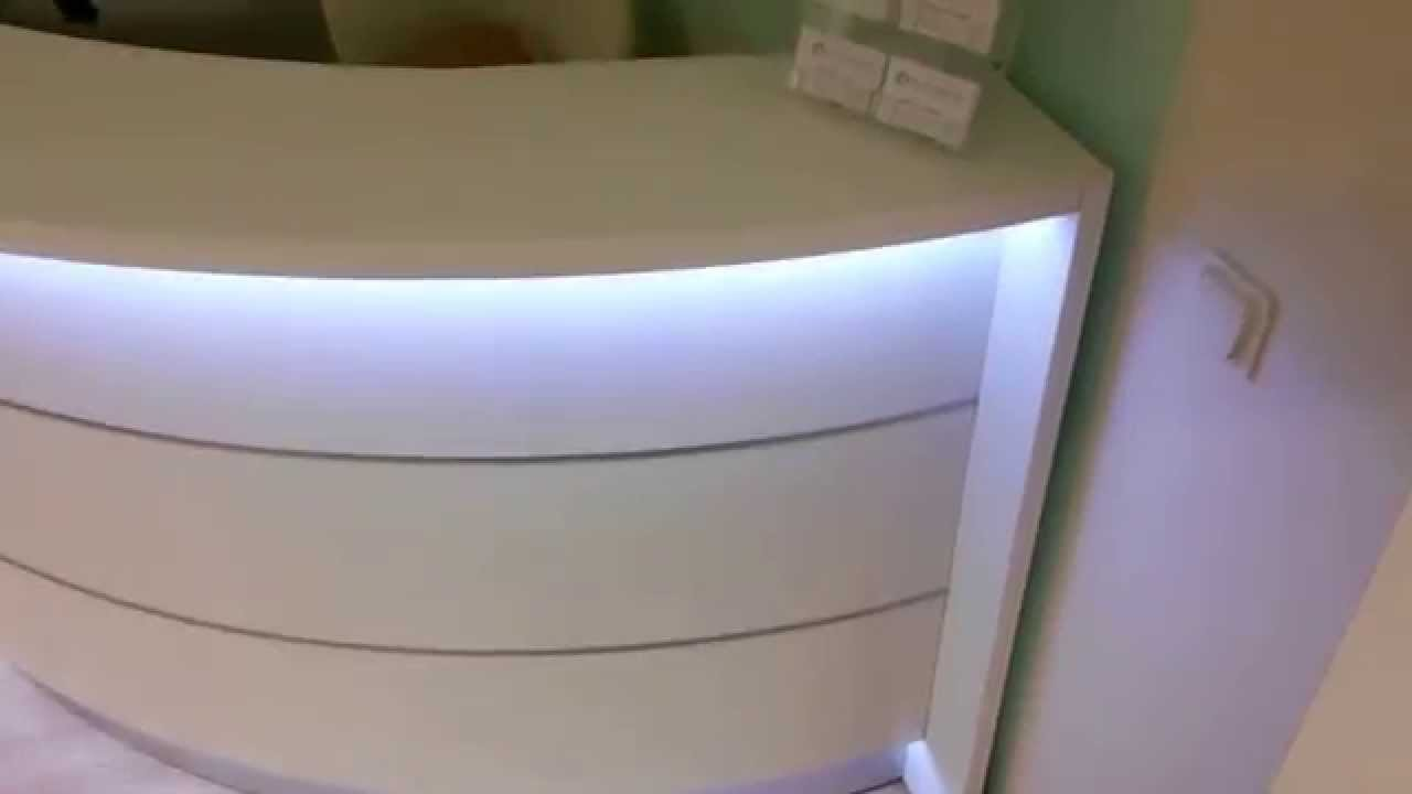 wei e empfangstheke mit led licht youtube. Black Bedroom Furniture Sets. Home Design Ideas