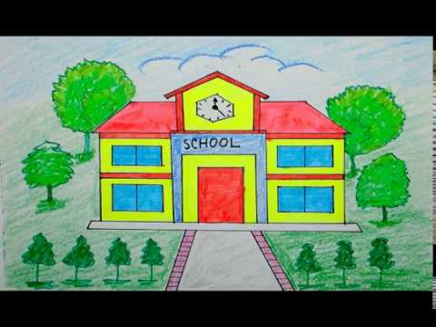 How to draw scenery of school building | scenery for ...