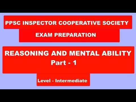 || PPSC Exam Preparation || Reasoning Part -1 Cooperative Society Inspector|| 2018 ||