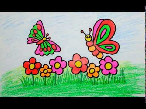 How To Draw Butterfly Flower For Baby Coloring Book And Drawing Kids Children
