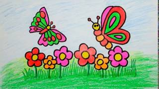 How to draw butterfly & flower for baby Coloring book and Drawing for Kids drawing for children