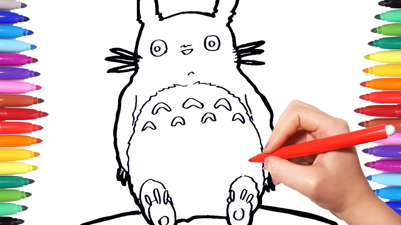 TOTORO Coloring Pages   How to Draw and Paint Totoro for Kids   Coloring Videos for Kids