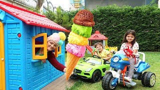 Elif Öykü and Masal Ice Cream Truck Pretend Play with Ice Cream Sing-A-Along Song