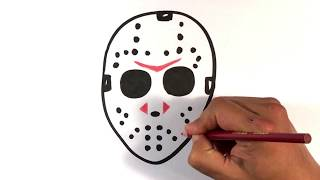 How to Draw Jason Voorhees Mask - Halloween Drawings