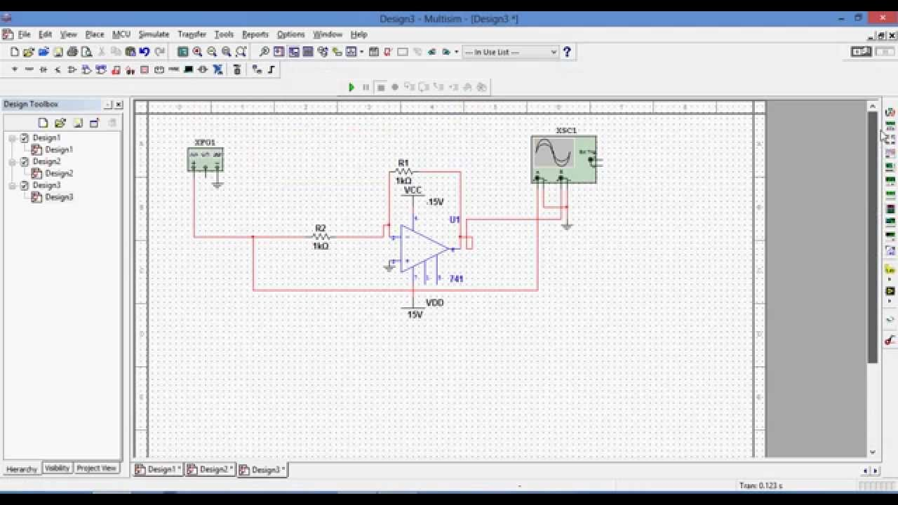 Simulation Of Inverting Amplifier In Multisim Youtube Single Polarity Supply By Ic Lm741