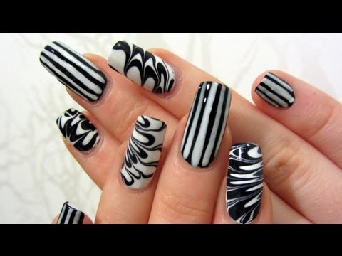 White Stripes and Water Marble Design Nail Art Tutorial