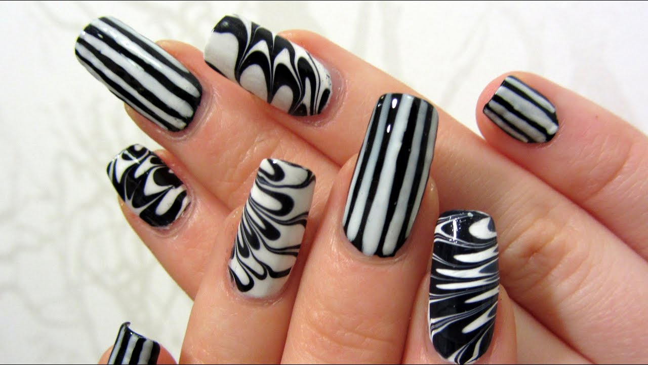 Easy Graphic Black And White Stripes And Water Marble Design Nail