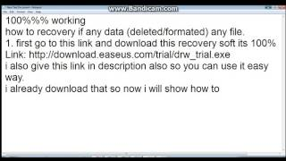 How to recovery hard disk formatted or deleted file and folder 100%% working