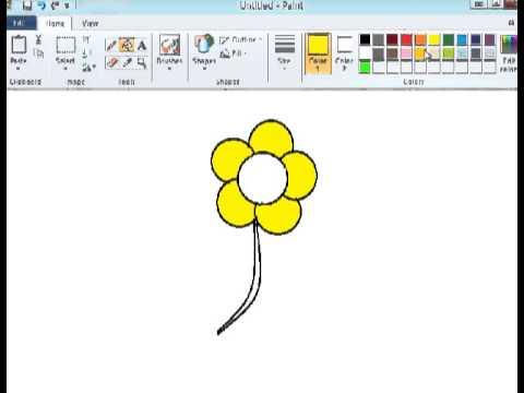 Tutorial paint - Menggambar bunga - YouTube