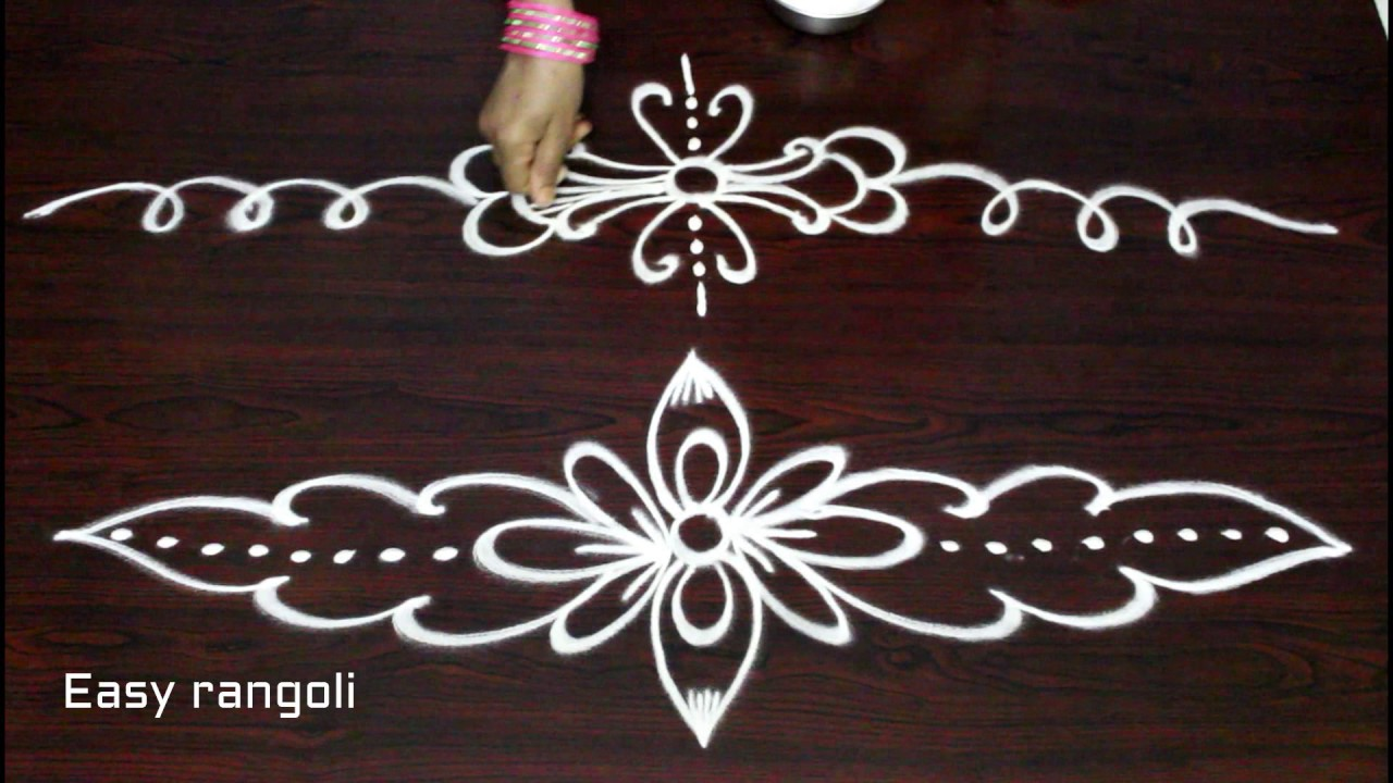 rangoli side border designs freehand kolam side designs muggulu side designs youtube. Black Bedroom Furniture Sets. Home Design Ideas