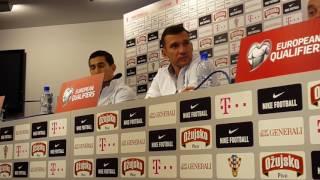 Пресс-конференция Андрея Шевченко и Тараса Степаненко в Загребе перед игрой с Хорватией