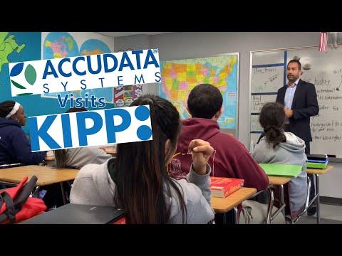 Accudata's Vid Sista speaks at KIPP Academy Middle School