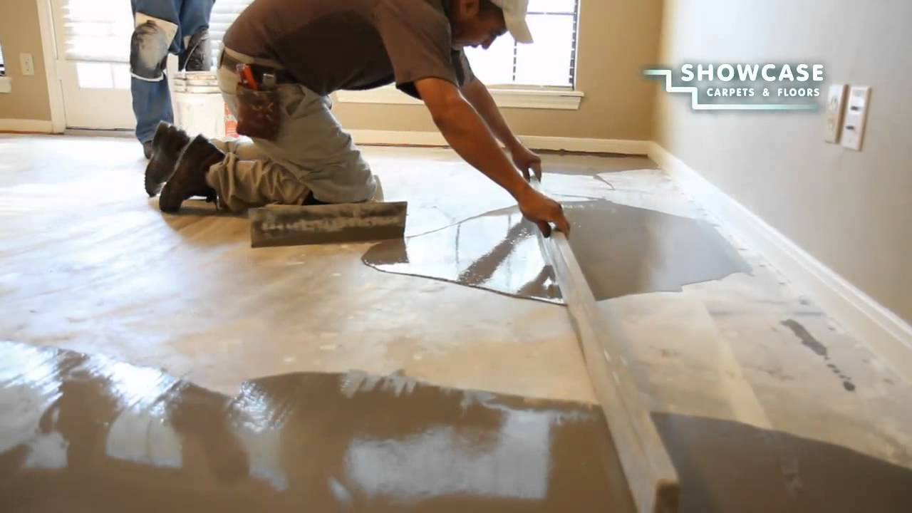 Smoothing the subfloor youtube for Floor leveling compound for wood subfloors